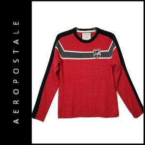 Aeropostale Men Crew Neck Long Sleeve Red Sweater
